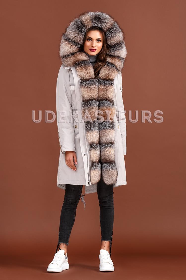 071380486dd Парка с мехом Blue Frost и норкой по спинке 5338-119 от Udekasi Furs ...